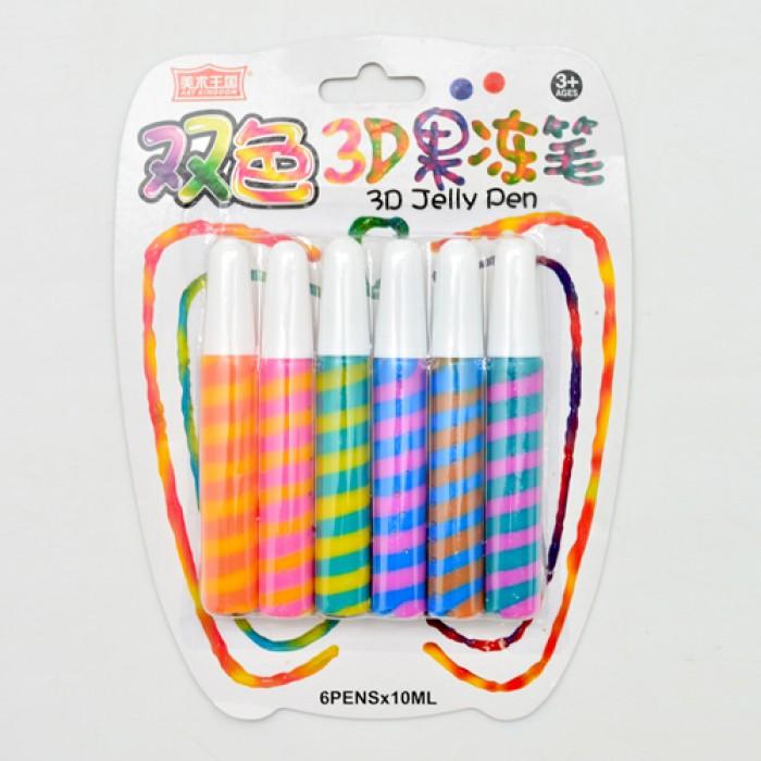 Клей для творчества 3D «Jelly Pen» 6шт, блистер