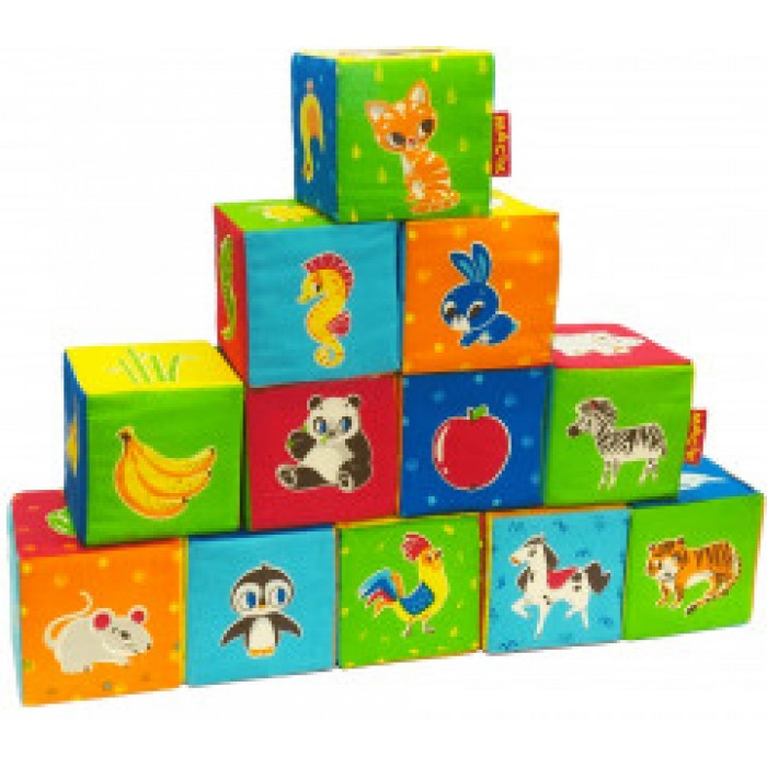 Набор мягких кубиков «Животные» 12шт