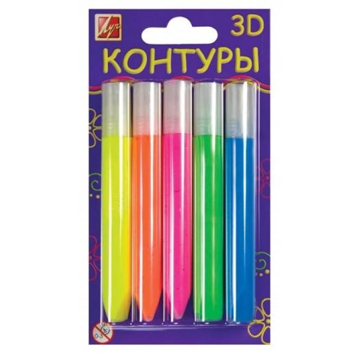 Набор контуров 3D флуоресцентные, 5 цветов, 10мл