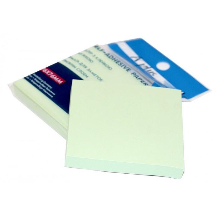 Бумага для заметок с липким слоем, 100 листов, зеленый