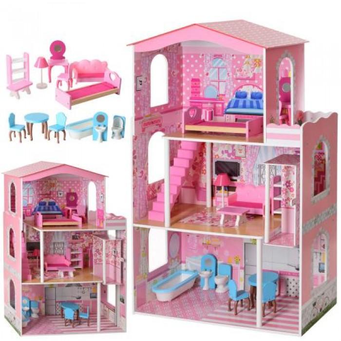 Домик деревянный 75*116*32,5см, 3 этажа, мебель