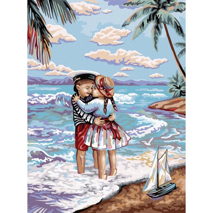 Картина по номерам  №1 «Морской пляж» 30*40см