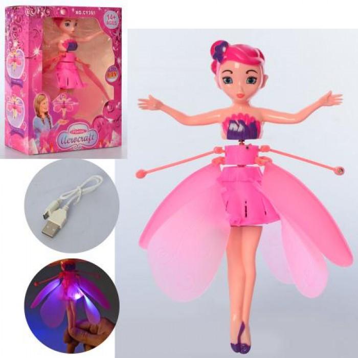 Кукла 19см, аккум, летает, свет, USB зарядное