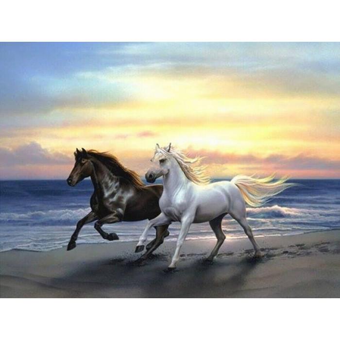 Алмазная мозаика «Пара лошадей», 30*40см, с рамкой