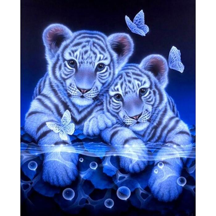 Алмазная мозаика «Тигрята», 30*40см, с рамкой