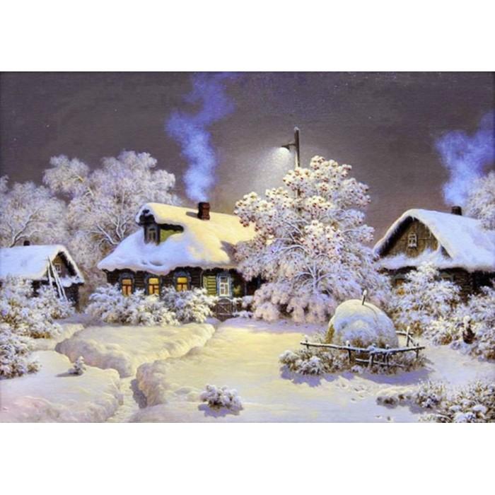 Алмазная мозаика «Зима в деревне», 30*40см, с рамкой