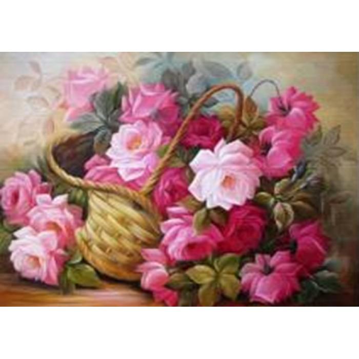 Алмазная мозаика «Корзина цветов», 30*40см, с рамкой