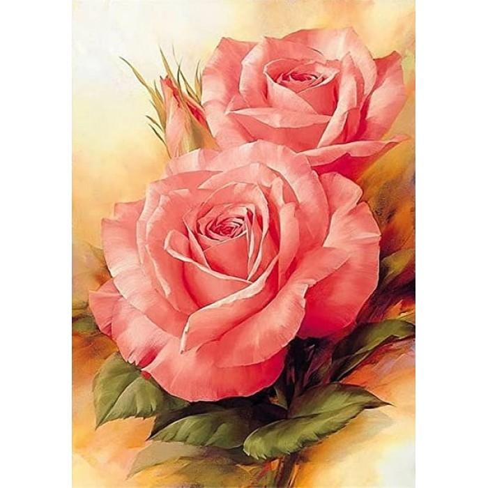 Алмазная мозаика «Цветущая роза», 30*40см, с рамкой