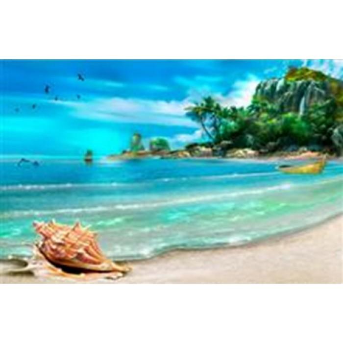 Алмазная мозаика «Тропический остров», 30*40см, с рамкой