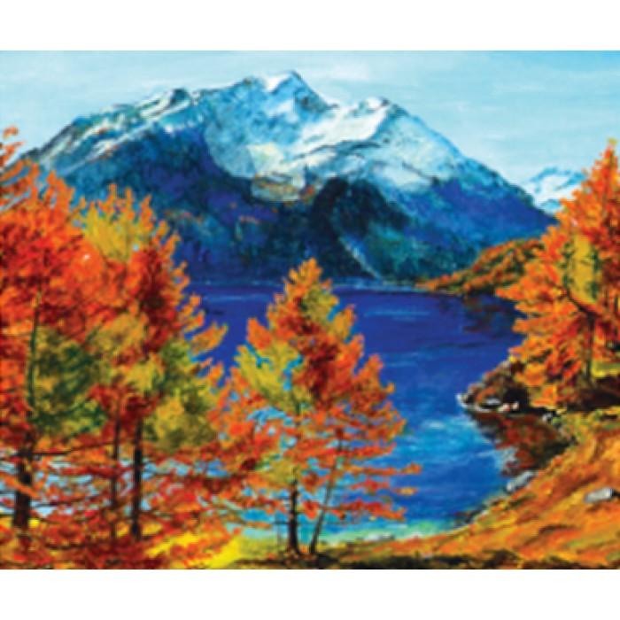 Алмазная мозаика «Осень в горах», 30*40см, с рамкой