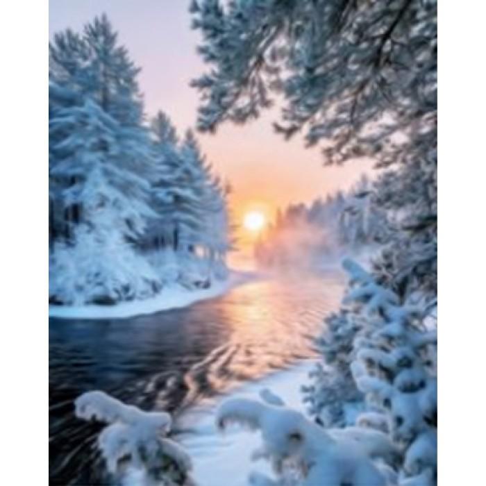 Алмазная мозаика «Январское солнце», 30*40см, с рамкой