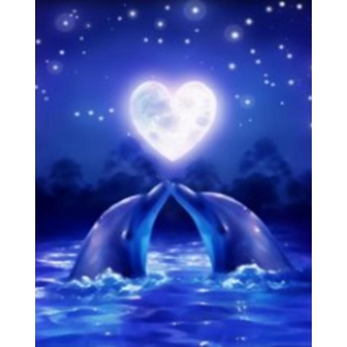 Алмазная мозаика «Дельфины», 30*40см, с рамкой