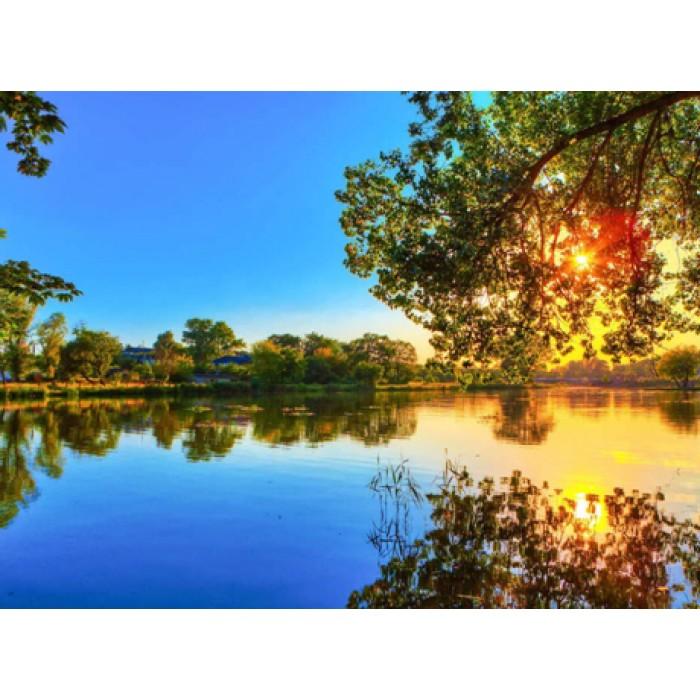 Алмазная мозаика «Закат на озере», 30*40см, с рамкой