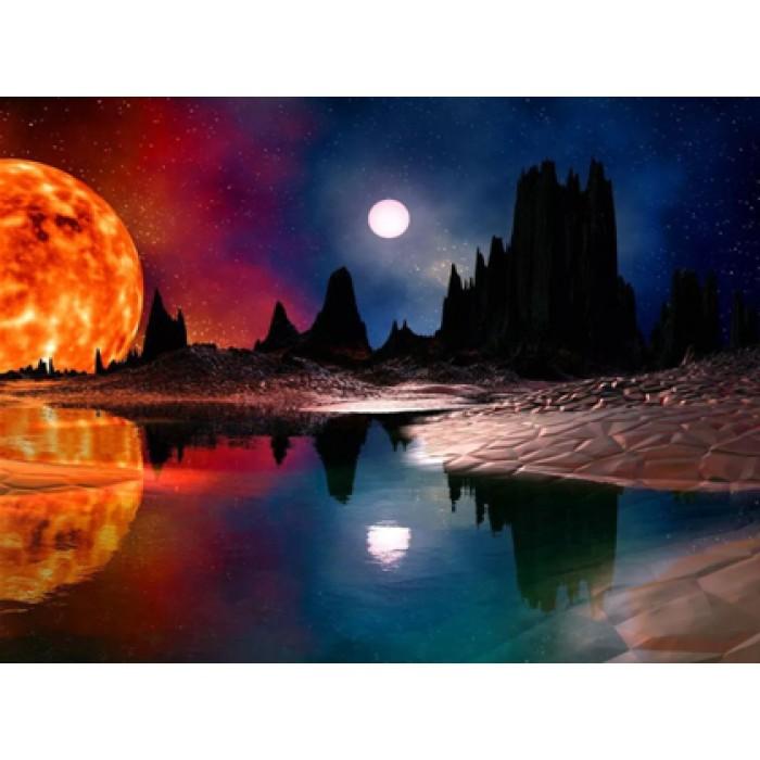 Алмазная мозаика «Багровая луна», 30*40см, с рамкой