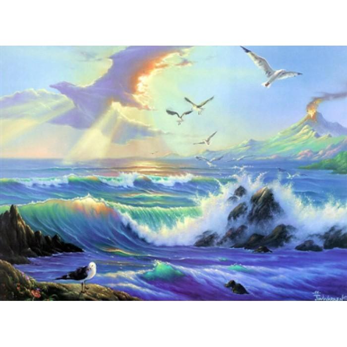 Алмазная мозаика «Чайки у моря», 30*40см, с рамкой