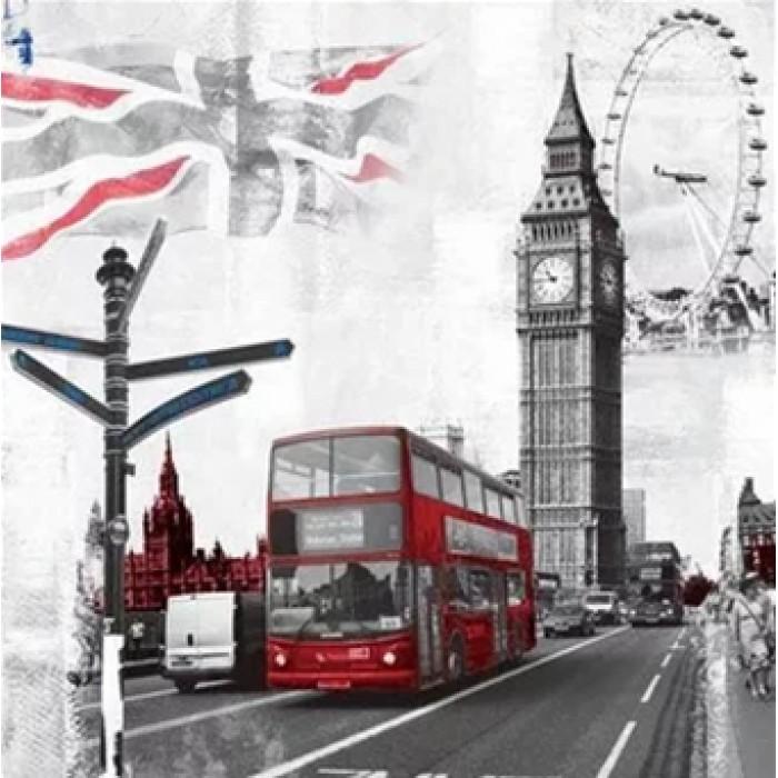 Алмазная мозаика «Символы Лондона», 30*40см, с рамкой