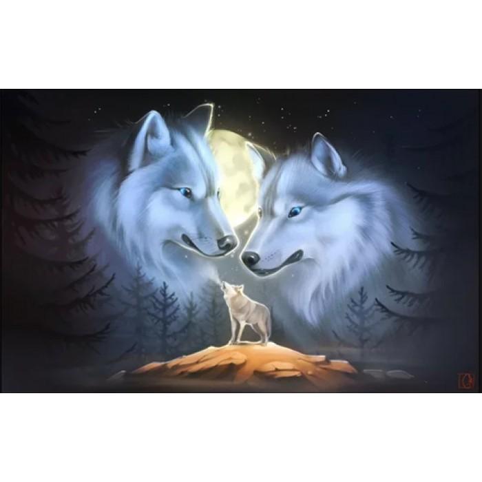 Алмазная мозаика «Зов волка», 30*40см, с рамкой