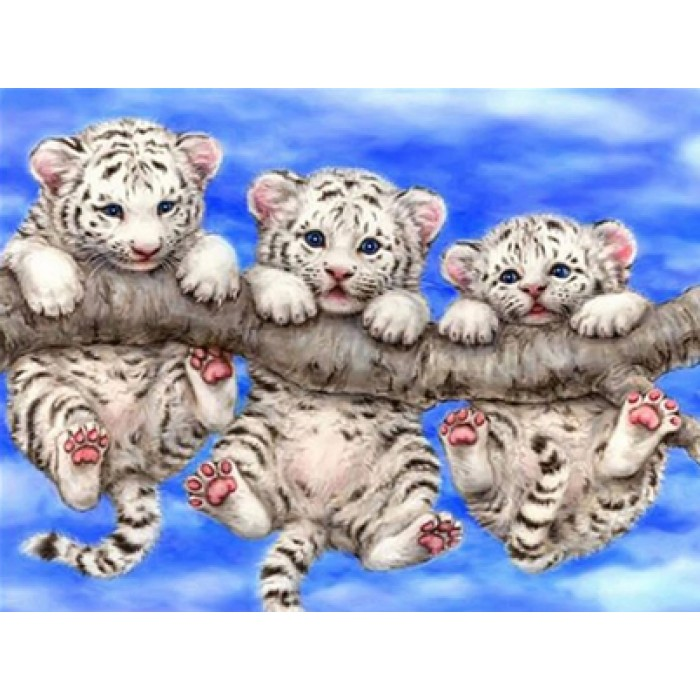 Алмазная мозаика «Белые тигрята на ветке», 30*40см, с рамкой
