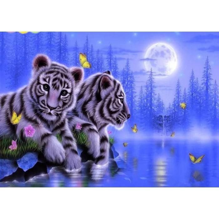 Алмазная мозаика «Бенгальские тигры», 30*40см, с рамкой