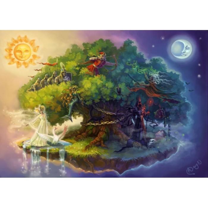 Алмазная мозаика «У Лукоморья дуб зеленый» 30*40см, с рамкой