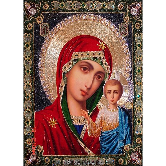 Алмазная мозаика «Богородица и сын», 30*40см, с рамкой