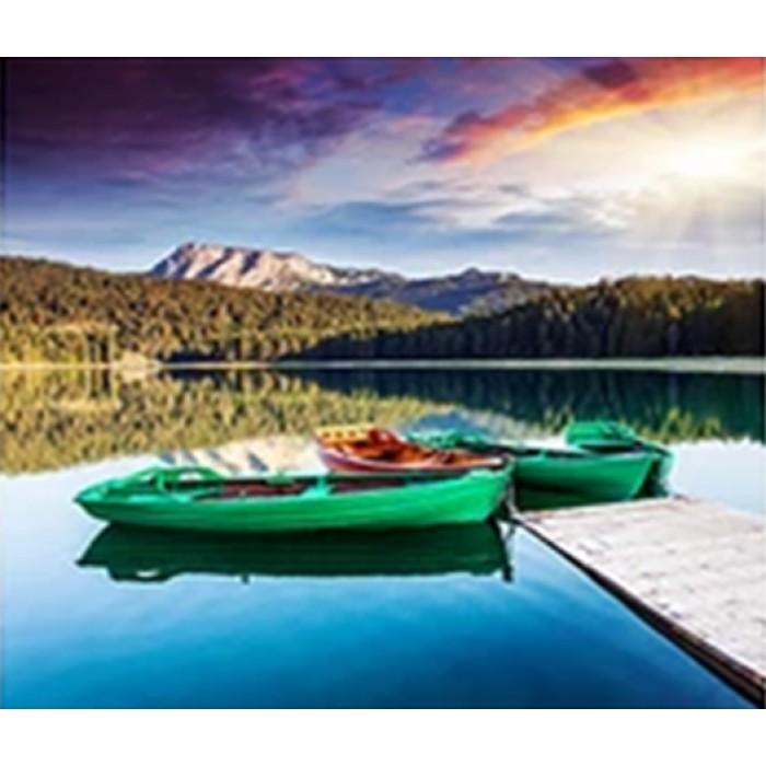 Алмазная мозаика «Зелёные лодки», 30*40см, без рамки