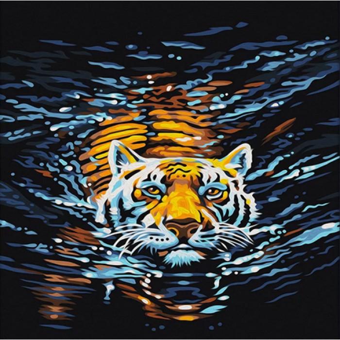 Алмазная мозаика «Плывущий хищник», 30*40см, без рамки