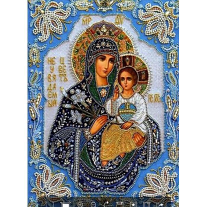 Алмазная мозаика «Богородица с младенцем»,30*40см, с рамкой