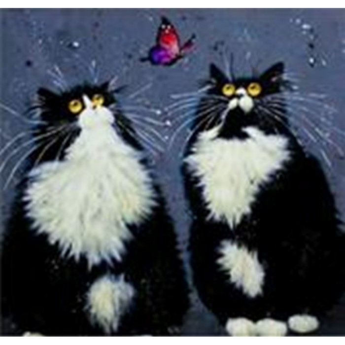 Алмазная мозаика «Черно-белые коты», 30*40см, без рамки