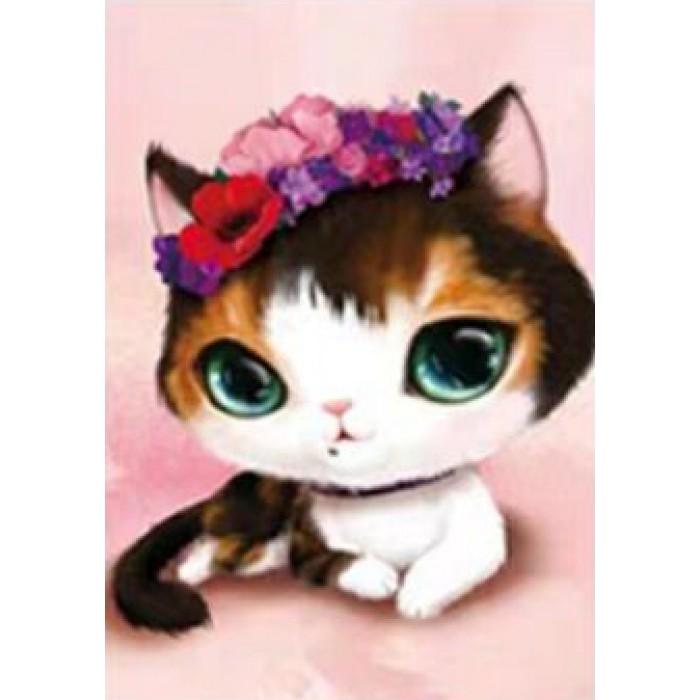 Алмазная мозаика «Цветочный кот», 30*40см, без рамки