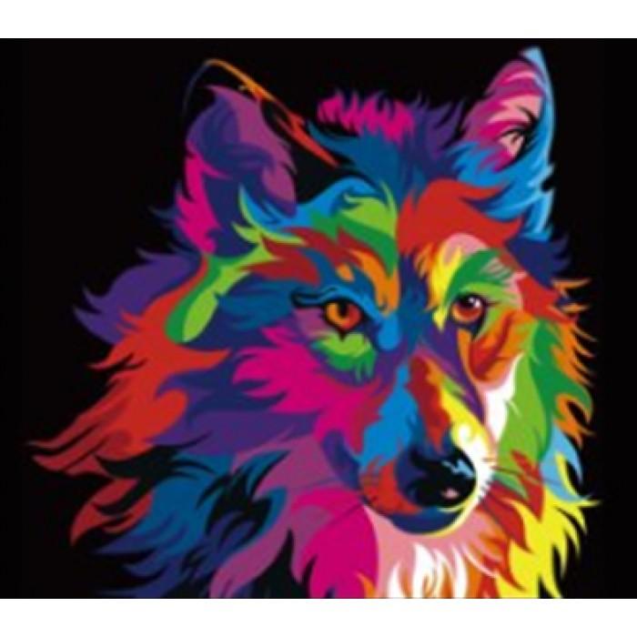 Алмазная мозаика «Пестрый волк», 30*40см, без рамки