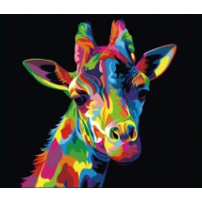 Алмазная мозаика «Разноцветный жираф», 30*40см, без рамки