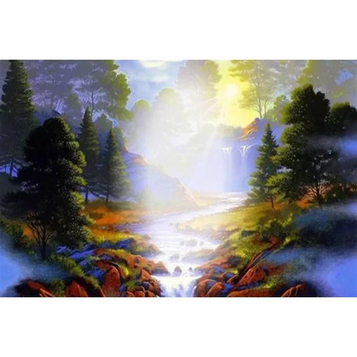 Алмазная мозаика «Утренний туман», 30*40см, без рамки