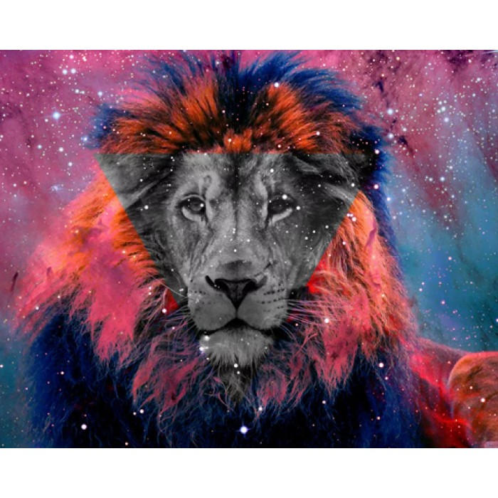 Алмазная мозаика «Лев в ярких красках», 30*40см, без рамки
