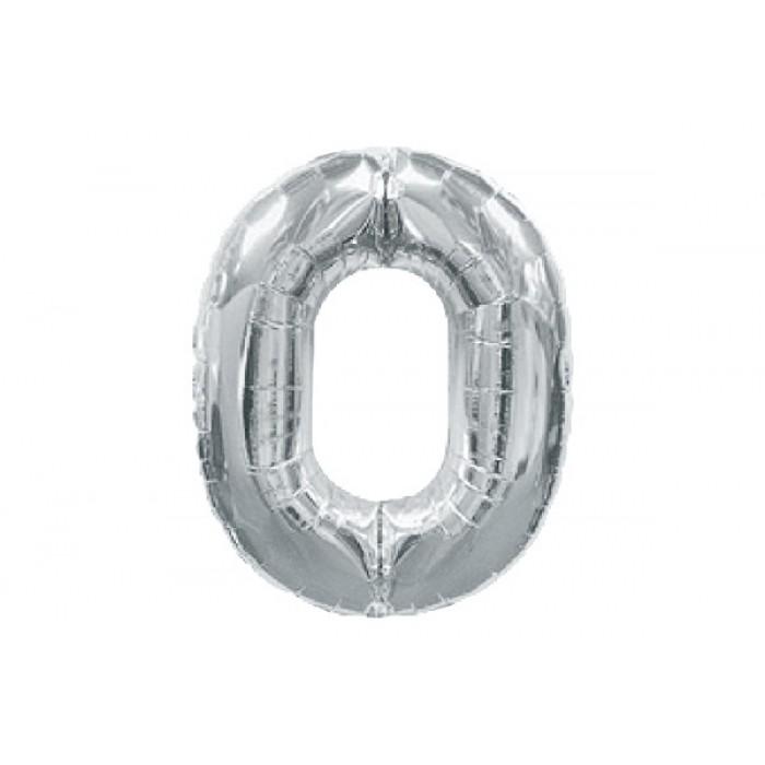 Шарик цифра «0», серебро, ЦЕНА ЗА УП.10ШТ