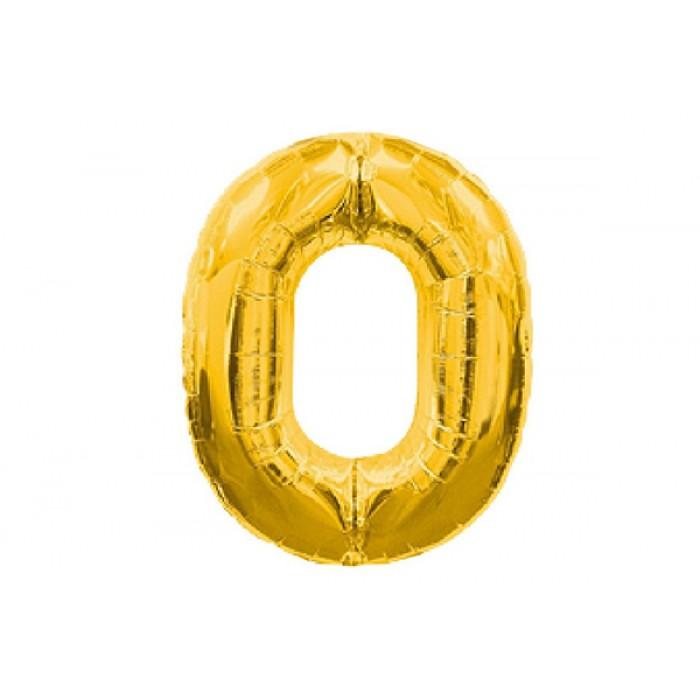 Шарик цифра «0» золото,  ЦЕНА ЗА УП.10ШТ