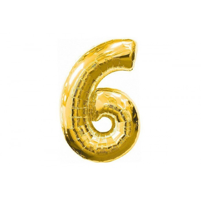 Шарик цифра «6» золото, ЦЕНА ЗА УП.10ШТ