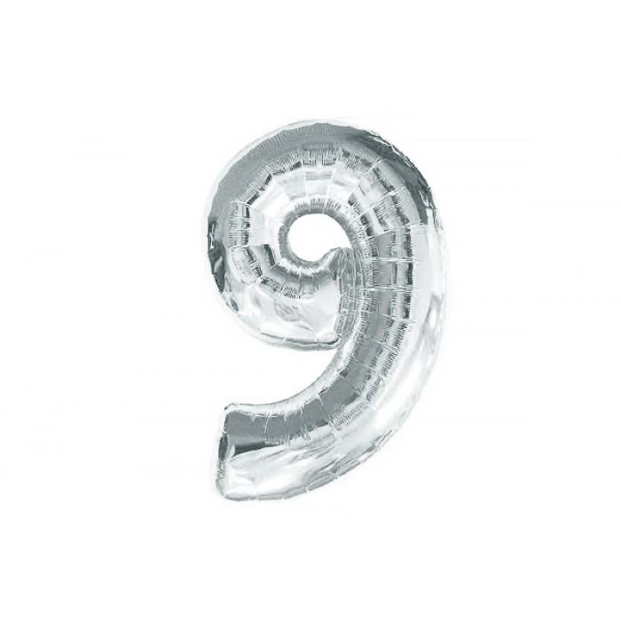 Шарик цифра «9» серебро, ЦЕНА ЗА УП.10ШТ