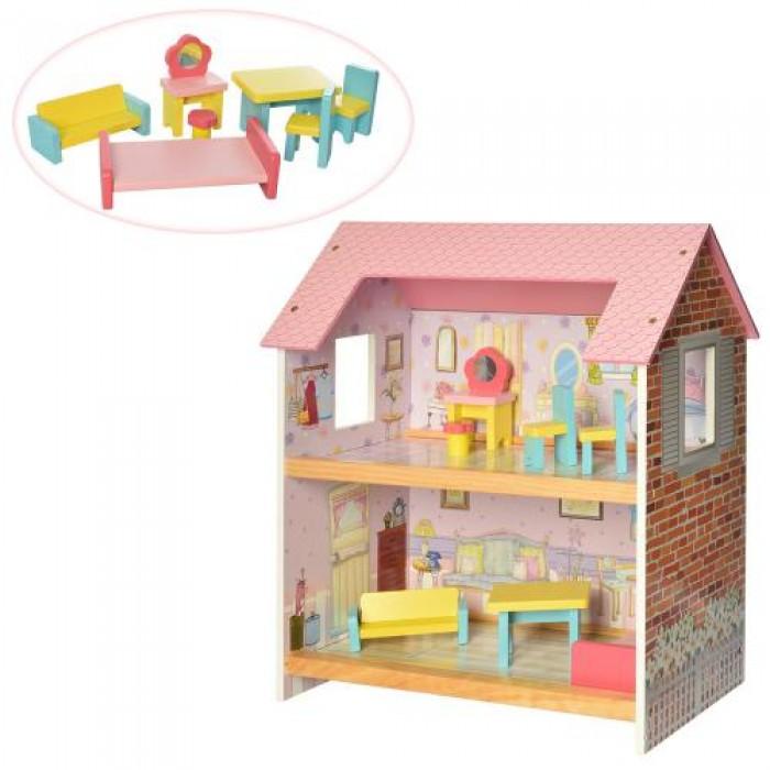 Домик деревянный 2 этажа, 48*44*25см, мебель