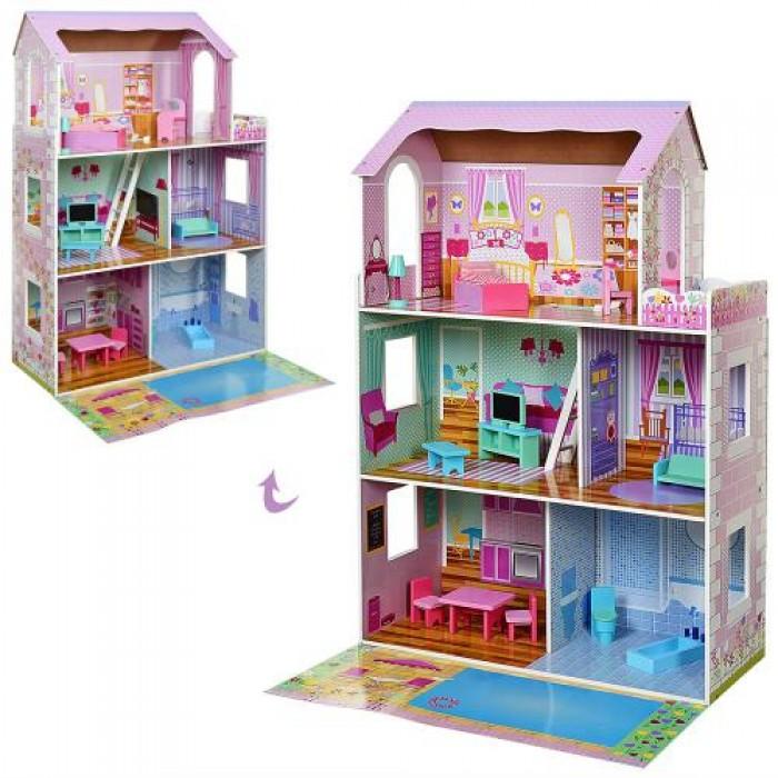 Домик деревянный 3 этажа, 75*116*30см, мебель