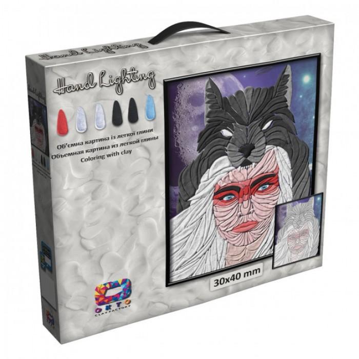 Картина из легкого пластилина ТМ Moon Light Clay, волчица
