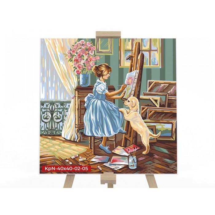 Картина по номерам  №5 «Художница» 40*40см, серия 2