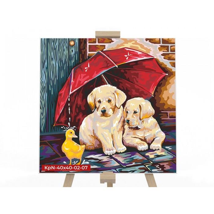 Картина по номерам  №7 «Щенок под зонтом» 40*40см, серия 2