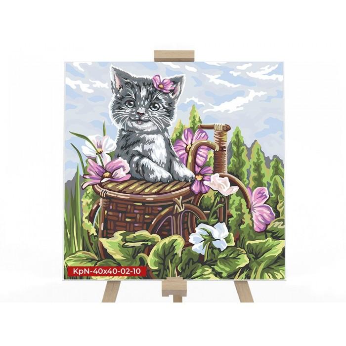 Картина по номерам  №10 «Котёнок в корзине» 40*40см, серия 2