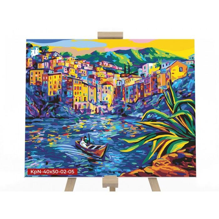 Картина по номерам  №5 «Город возле речки» 40*50см, серия 2