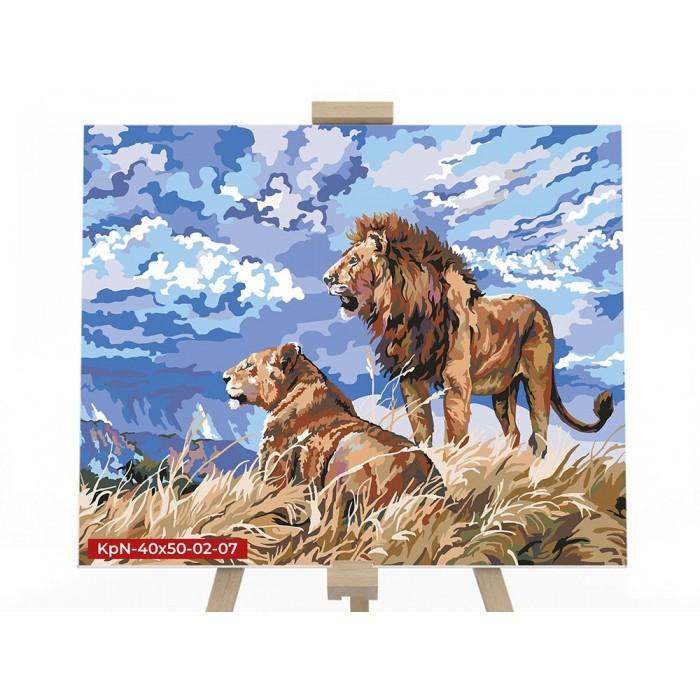Картина по номерам  №7 «Львы» 40*50см, серия 2