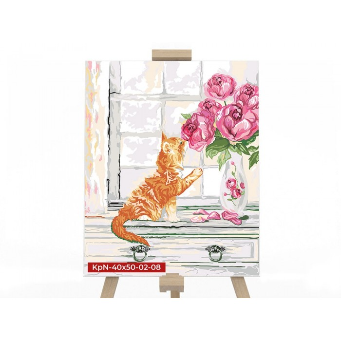 Картина по номерам  №8 «Кот с цветами» 40*50см, серия 2