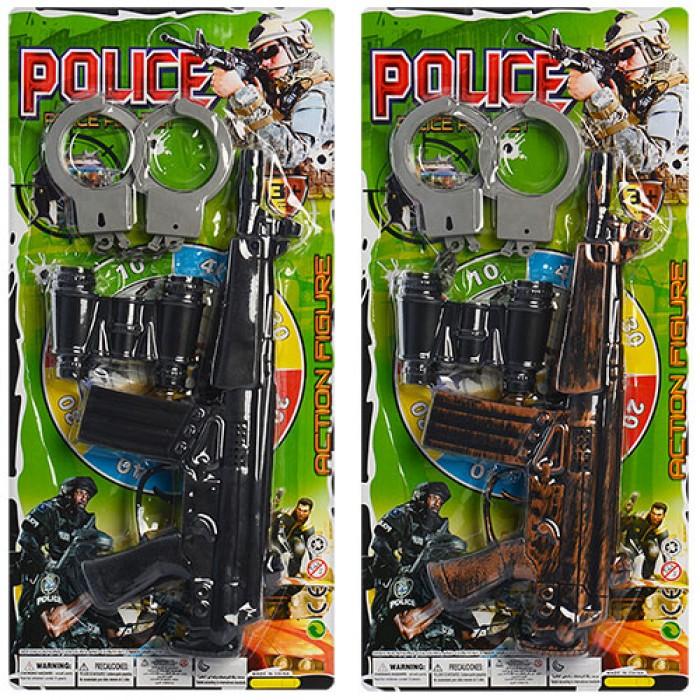 Набор полиции ружьё, очки, пистолет, дубинка, наручники